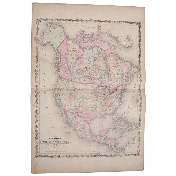 Us Map In 1861.Large 1861 Hand Colored Map Of North America W Detailed Us Map