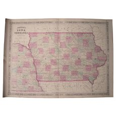 Large 1864 Hand Colored Map of Iowa