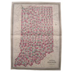 Large 1861 Hand Colored Map of Indiana