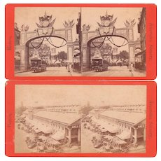 Pair 1870s Stereoviews Boston MA Street Scenes