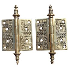 Pair Solid Brass Ornate Eastlake Style Door Hinges (2 pair available)