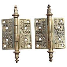 Pair Solid Brass Ornate Eastlake Style Door Hinges (2 pair available)