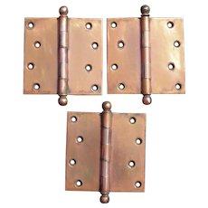 """Lot of Three  4 1/2"""" 1900s Solid Bronze Door Hinges w/Decorative Balls"""
