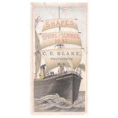 1881 Victorian Advertising Trade Card w/Ship
