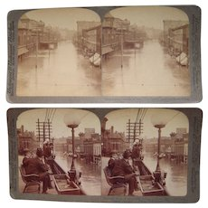 Pair Stereoviews 1903 Kansas City, MO Flood