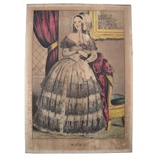 Hand Colored Currier and Ives Print Mary