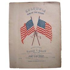 1843-1863 Sheet Music Columbia The Gem of the Ocean