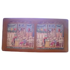 French Hand Colored Tissue Stereoview Diableries #16