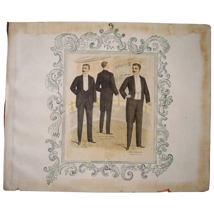 Lot Of 3 Victorian Era Men S Fashion Plates Blue Spruce Rugs And