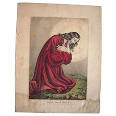 c1840s/1840s Hand Colored Currier and Ives Lithograph Our Saviour