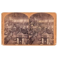 Stereoview 1878 Mass. Mechanics Assoc. Exhibition Interior View