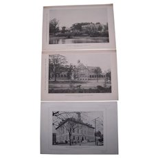Lot of 10 1890s Photogravures Prominent Buildings in Brookline, MA