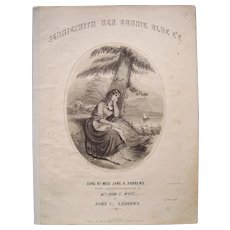 1849 Sheet Music Jennie With Her Bonnie Blue E'E