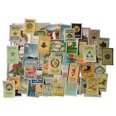 Lot of 50 Different Color Lithographed Japanese Silk Labels c1910s
