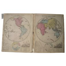 Pair 1860s Hand colored Maps of Eastern and Western Hemispheres