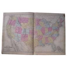 c1870 Hand Colored Map of the US