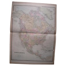 Large Hand Colored 1889 Map Of North America