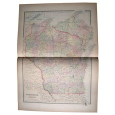 Large 1889 Hand Colored Map of Wisconsin