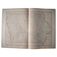 Large 1889 Hand Colored Map of Iowa