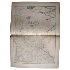 Large 1889 Hand Colored Map of Minnesota