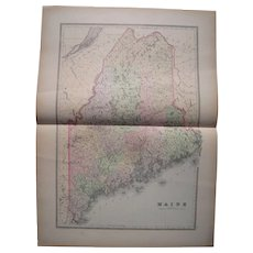 Large 1889 Hand Colored Map of Maine