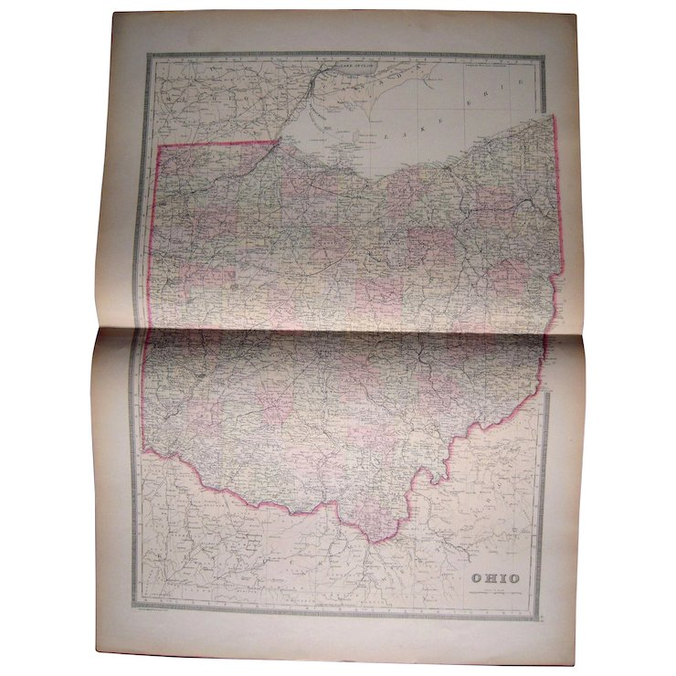 Large 1889 Hand Colored Map Of Ohio Blue Spruce Rugs And Antiques
