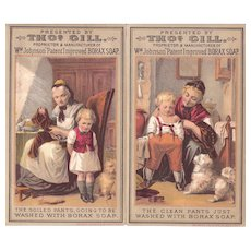 Pair Victorian Advertising Trade Cards for Borax Soap