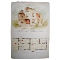 """1889 Color Lithographed Architectural Print """"A Cottage of Moderate Cost"""""""