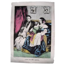 """Hand Colored Currier and Ives Print """"The Happy Home"""" #2"""