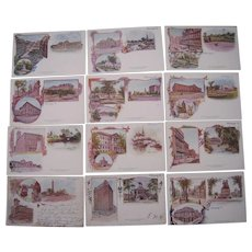 Lot 12 Patriographic (1897) Postcards of Chicago, IL