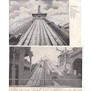 Lot 14 Early B+W Coney Island Park Postcards