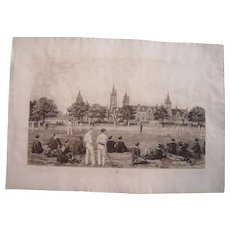 Large 1889 Signed Etching by F. G. Stevenson Cricket Players at Charterhouse School in England