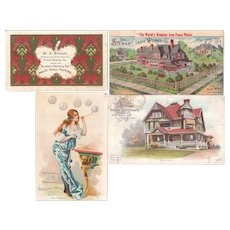Lot 4 Victorian Advertising Trade Cards of Architectural Items