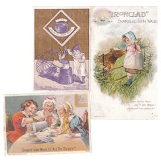 Lot 3 Enamelware (Granite Ware, etc) Victorian Advertising Trade Cards