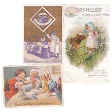 Lot 3 Enamelware (Granite Ware, etc) Victorian Advertising Trade Cards