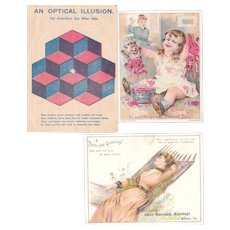 Lot 3 Advertising Trade Cards for Diamond Dyes, incl. a Hold to Light