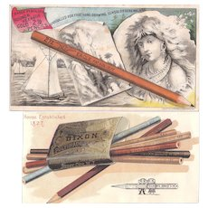 Pair 1880s Advertising Trade Cards for Pencils