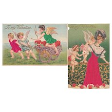 Pair 1910s Valentine Postcards w/Applied Silk