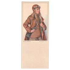 """c1920s Ink Blotter """"Aviation Girl"""""""