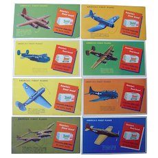 Lot 8 1940s Bond Bread Advertising Ink Blotters w/ WWII Airplanes