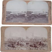Pair Stereoviews Aftermath of 1902 Eruption of Mt. Pelee Volcano on Martinique