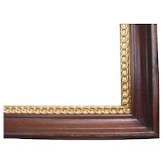 """Deep Victorian Walnut Picture Frame w/ Ornate Gold Liner 7"""" x 9"""""""