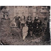 Half Plate Outdoor Tintype of Victorian Era Family