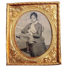 Sixth Plate Tintype of Victorian Black Woman