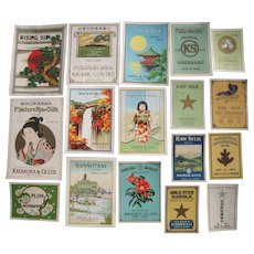 Lot 17 Japanese Silk Labels from 1910s to 1930s