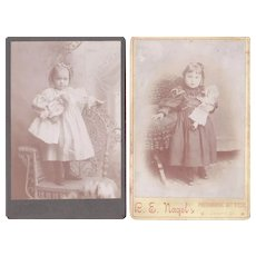Pair 1890s Cabinet Card Photos of Girls w/Dolls