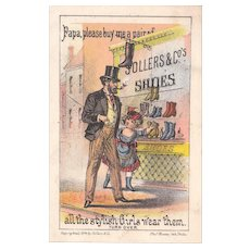 1874 Tradecard for Sollers Shoes (2 copies Available)