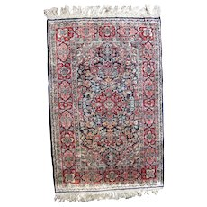 Vintage Hand Knotted Silk Persian Rug 2' x 3'