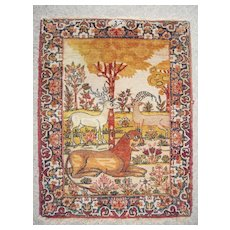 c1875 Antique Pictorial Lavar Kerman Persian Rug