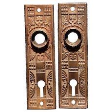 Pair 1888 Ornate Solid Brass Victorian Doorplates